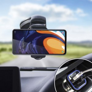 Essential items you need for your smartphone during a car journey all within the Olixar DriveTime In-Car Pack. Featuring a robust one-handed phone car mount and car charger with an additional USB port for your Samsung Galaxy A60.
