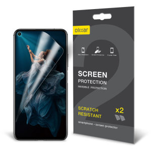 Keep your Huawei Honor 20 Pro screen in pristine condition with this Olixar scratch-resistant film screen protector 2-in-1 pack.