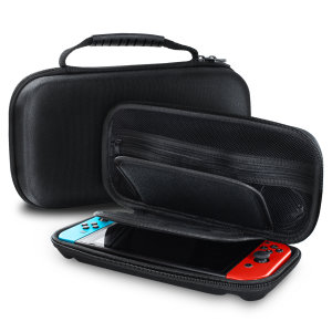 This water resistant, tough shell case provides excellent protection for your Nintendo Switch and your accessories. Simple, effective and lightweight, the case also features a handle, perfect for when you're travelling.