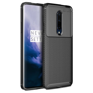 Flexible rugged casing with a premium matte finish non-slip carbon fibre and brushed metal design, the Olixar case in black keeps your OnePlus 7 Pro 5G protected.
