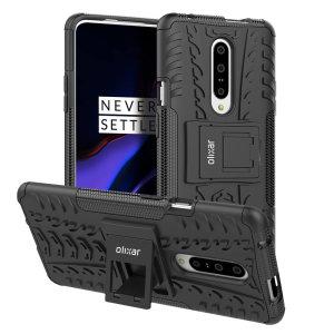 Beskyt din OnePlus 7 Pro 5G mod stød og ridser med dette sorte ArmourDillo-etui fra Olixar. Bestående af et indvendig TPU-etui og et ydre slagfast cover med indbygget display.
