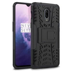Protect your OnePlus 7 from bumps and scrapes with this black ArmourDillo case from Olixar. Comprised of an inner TPU case and an outer impact-resistant exoskeleton, with a built-in viewing stand.