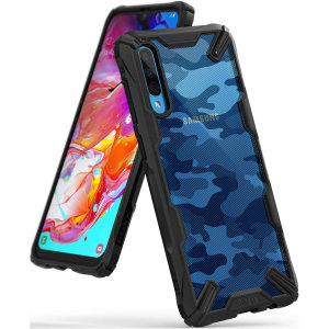 Keep your Samsung Galaxy A70 protected from bumps and drops with the Ringke Fusion X tough case in Camo Black. Featuring a 2-part, Polycarbonate design, this case lives up to military drop-test standards so you can rest assured that your device is safe