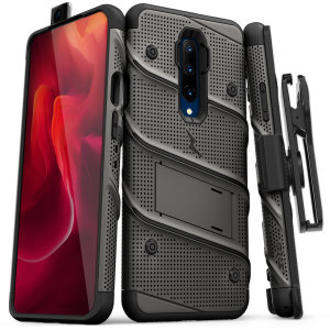 Equip your OnePlus 7 Pro with military grade protection and superb functionality with the ultra-rugged Bolt case in Grey and black from Zizo. Coming complete with a handy belt clip and integrated kickstand.