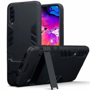 Protect your Samsung Galaxy A70 from bumps and scrapes with this black dual layer armour case from Olixar. Comprised of an inner TPU section and an outer impact-resistant exoskeleton, with a built-in viewing stand.