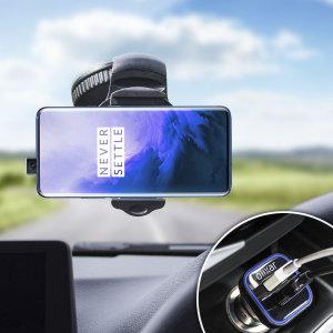 Mantenga seguro su OnePlus 7 Pro 5G mientras viaja gracias a este pack de coche Olixar DriveTime que incluye un cargador y un soporte de coche.