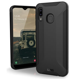 Urban Armour Gear for the Samsung Galaxy A20 features a protective TPU case in black with a UAG logo insert for an amazing design.