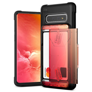 Protect your Samsung S10 5G with this precisely designed Samsung Galaxy S10 5G case in Yellow / Peach from VRS Design. Made with tough yet slim material, this hardshell construction with soft core features sliding technology to store two credit cards.