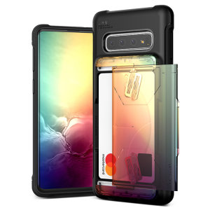 Protect your Samsung S10 5G with this precisely designed Samsung Galaxy S10 5G case in Orange / Purple from VRS Design. Made with tough yet slim material, this hardshell construction with soft core features sliding technology to store two credit cards.