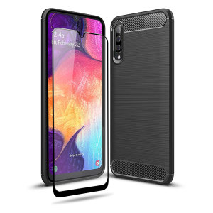 Flexible rugged casing with a premium matte finish non-slip carbon fibre and brushed metal design, the Olixar Sentinel case in black keeps your Samsung Galaxy A50 protected from 360 degrees with the added bonus of a tempered glass screen protector.