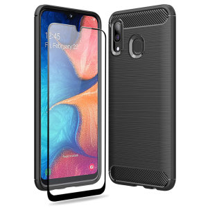 Flexible rugged casing with a premium matte finish non-slip carbon fibre and brushed metal design, the Olixar Sentinel case in black keeps your Samsung Galaxy A20 protected from 360 degrees with the added bonus of a tempered glass screen protector.