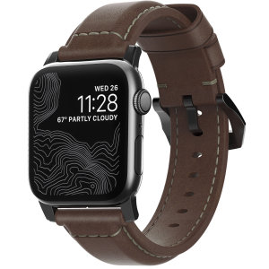 With this beautiful Rustic Brown Leather premium Traditional wrist strap from Nomad with Black hardware, express yourself and customise your beautiful new 44mm / 42mm Apple Watch Series 1-6 and SE to suit your personal sense of style.