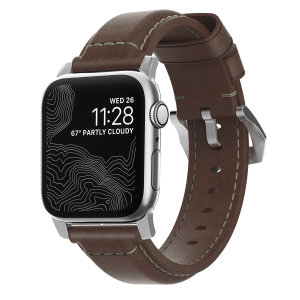 With this beautiful Rustic Brown Leather premium Traditional wrist strap from Nomad with Silver hardware, express yourself and customise your beautiful new 44mm / 42mm Apple Watch Series 1-6 and SE to suit your personal sense of style.