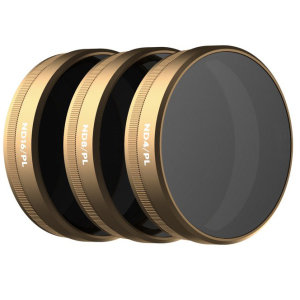 The PolarPro Phantom 4 Vivid Cinema Series 3 pack contains three filters that are designed to reduce the camera's shutter speed, remove glare, and increase color saturation. Includes ND4/PL, ND8/PL and ND16/PL filters.