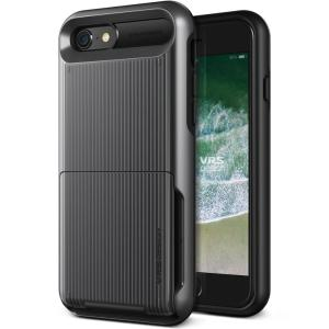 Protect your iPhone 8 / 7 with this precisely designed case in metal black from VRS Design. Made with tough yet slim material, this hardshell construction with soft core features patented flip technology to store credit cards or ID.
