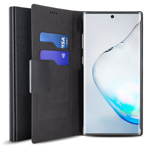 Protect your Samsung Galaxy Note 10 with this durable and stylish black wallet leather-style case by Olixar. What's more, this case transforms into a handy stand to view media.