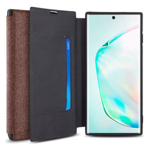 Protect your Samsung Galaxy Note 10 Plus with this durable and stylish Brown canvas case by Olixar. What's more, for convenience this case transforms into a stand to view media and includes a card slot.