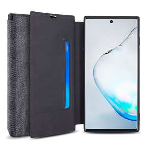 Protect your Samsung Galaxy Note 10 with this durable and stylish Grey canvas case by Olixar. What's more, for convenience this case transforms into a stand to view media and includes a card slot.