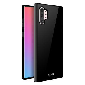 Custom moulded for the Samsung Galaxy Note 10 Plus. This solid black Olixar FlexiShield case provides a slim fitting stylish design and durable protection against damage, keeping your device looking great at all times.