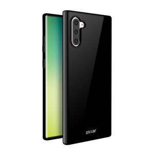 Custom moulded for the Samsung Galaxy Note 10, this solid black FlexiShield case by Olixar provides slim fitting and durable protection against damage.