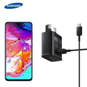 A genuine black Samsung UK adaptive fast mains charger for your Samsung Galaxy A70 smartphone. This is identical to the black charger supplied with the Samsung Galaxy A70 - EP-TA20UBE. Comes complete with an official 1.2m Samsung USB-C cable.
