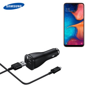 A genuine Samsung adaptive fast car charger and USB-C charging cable for your Samsung Galaxy A20e. Incredibly stylish and fast, this charger is a must have, thanks to its sleek design and super fast charging rates.