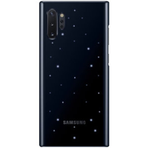 Protect your Samsung Galaxy Note 10 Plus from harm with the intuitive LED cover official case from Samsung in Black. This Case ensures you stand out from the crowd with LED design embedded in the back of the case while protecting your Note 10 from impacts