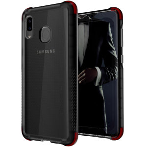 Custom moulded for the Samsung Galaxy A30, the Ghostek tough case in Smoke colour provides a slim fitting, stylish design and reinforced corner protection against shock damage, keeping your Samsung Galaxy A30 looking great at all times.