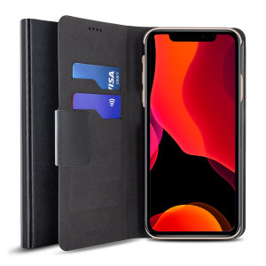 The Olixar leather-style iPhone 11 Pro Wallet Case in black attaches to the back of your phone to provide enclosed protection and can also be used to hold your credit cards.