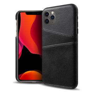 Designed for the iPhone 11 Pro, this black executive leather-style case from Olixar provides a perfect fit and durable protection against scratches, knocks and drops with the added convenience of 2 RFID protected credit card-sized slots.