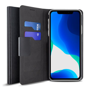 The Olixar leather-style iPhone 11 Wallet Case in black attaches to the back of your phone to provide enclosed protection and can also be used to hold your credit cards. So leave your regular wallet at home when you need to travel light.