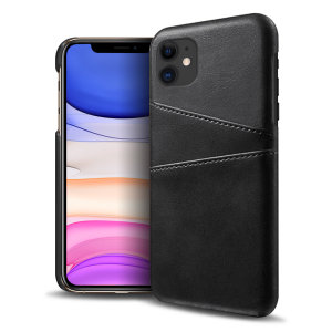 Designed for the iPhone 11, this black executive leather-style case from Olixar provides a perfect fit and durable protection against scratches, knocks and drops with the added convenience of 2 RFID protected credit card-sized slots.