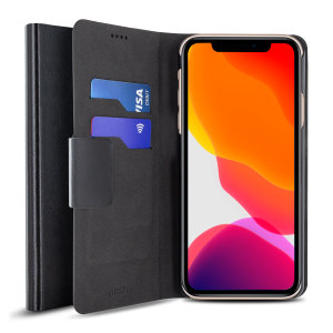 The Olixar leather-style iPhone 11 Pro Max Wallet Case in black attaches to the back of your phone to provide enclosed protection and can also be used to hold your credit cards. So leave your regular wallet at home when you need to travel light.