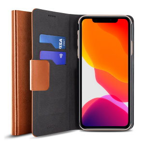 The Olixar leather-style iPhone 11 Pro Max Wallet Case in brown attaches to the back of your phone to provide enclosed protection and can also be used to hold your credit cards. So leave your regular wallet at home when you need to travel light.