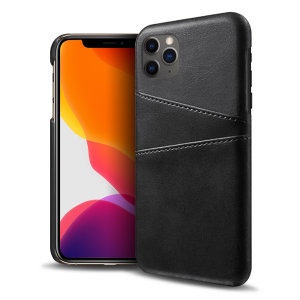 Designed for the iPhone 11 Pro Max, this black executive leather-style case from Olixar provides a perfect fit and durable protection against scratches, knocks and drops with the added convenience of 2 RFID protected credit card-sized slots.