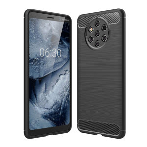 Flexible rugged casing with a premium matte finish non-slip carbon fibre and brushed metal design, the Olixar case in black keeps your Nokia 9 Pureview protected.