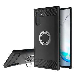 Dette solide ArmaRing dekselet i svart og sølv er laget spesielt for Samsung Galaxy Note 10, og Olixar tilbyr her ekstrem beskyttelse og en fingerring som holder telefonen tygt i hånden din så du unngår både fall og tyveriforsøk. Ringen fungerer også som stativ.