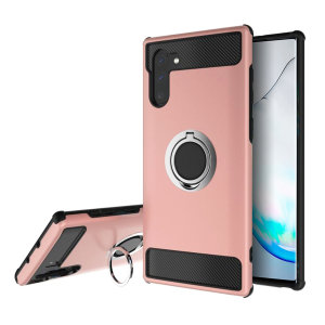 Made for the Samsung Galaxy Note 10, this tough rose gold and silver ArmaRing case from Olixar provides extreme protection and a finger loop to keep your phone in your hand, whether from accidental drops or attempted theft. Also doubles as a stand.