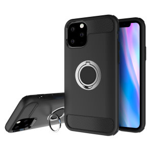 Made for the iPhone 11 Pro, this tough black and silver ArmaRing case from Olixar provides extreme protection and a finger loop to keep your phone in your hand, whether from accidental drops or attempted theft. Also doubles as a stand.