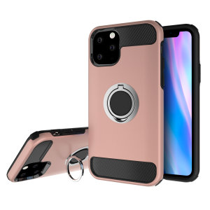 Made for the iPhone 11 Pro, this tough rose gold and silver ArmaRing case from Olixar provides extreme protection and a finger loop to keep your phone in your hand, whether from accidental drops or attempted theft. Also doubles as a stand.