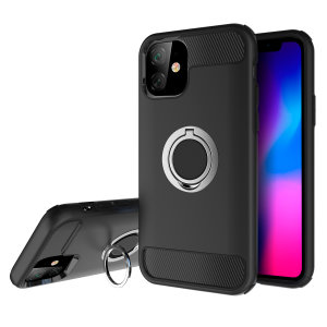 Made for the iPhone 11, this tough black and silver ArmaRing case from Olixar provides extreme protection and a finger loop to keep your phone in your hand, whether from accidental drops or attempted theft. Also doubles as a stand.