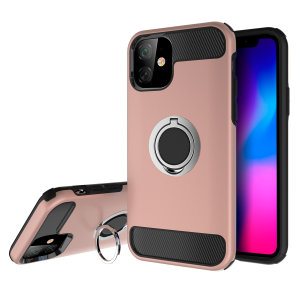Made for the iPhone 11, this tough rose gold and silver ArmaRing case from Olixar provides extreme protection and a finger loop to keep your phone in your hand, whether from accidental drops or attempted theft. Also doubles as a stand.