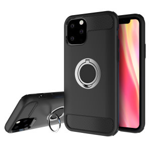 Made for the iPhone 11 Pro Max, this tough black and silver ArmaRing case from Olixar provides extreme protection and a finger loop to keep your phone in your hand, whether from accidental drops or attempted theft. Also doubles as a stand.