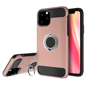 Made for the iPhone 11 Pro Max, this tough Rose Gold and silver ArmaRing case from Olixar provides extreme protection and a finger loop to keep your phone in your hand, whether from accidental drops or attempted theft. Also doubles as a stand.