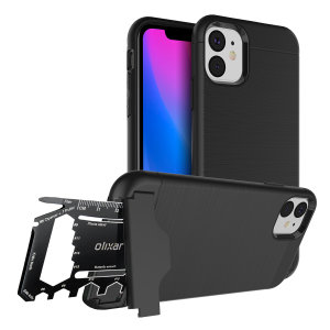 Prepare your iPhone 11 for the great outdoors with the rugged X-Ranger case. With a handy kickstand and a secure compartment for the included multi-tool - or the card of your choice - you'll be ready for anything.