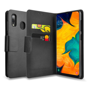 Protect your Samsung Galaxy A20 with this durable and stylish black leather-style wallet case by Olixar. What's more, this case transforms into a handy stand to view media.