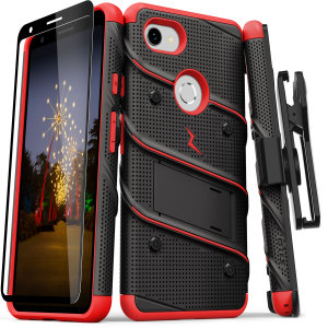 Equip your Google Pixel 3A with military grade protection and superb functionality with the ultra-rugged Bolt case in red and black from Zizo. Coming complete with a handy belt clip and integrated kickstand.