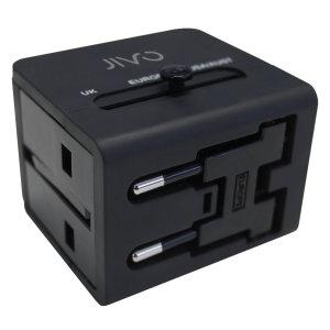 L'adattatore Jivo World Travel con doppia porta USB è il compagno di viaggio perfetto. Compatibile in 150 paesi in tutto il mondo con spine USA/UK/AU e UE.
