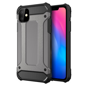 Protect your iPhone 11 from bumps and scrapes with this gunmetal Delta Armour case from Olixar. Comprised of an inner TPU section and an outer impact-resistant exoskeleton.