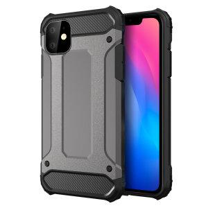Bescherm je iPhone 11 tegen stoten en krassen met dit dual-layer pantserhuis van Olixar. Bestaat uit een binnenste TPU-gedeelte en een buitenste slagvast exoskelet.